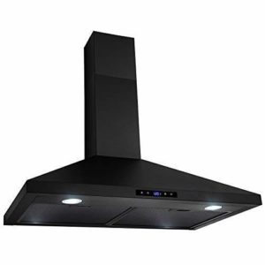 Golden Vantage Wall Mount Range Hood Stainless-Steel Black Touch Panel